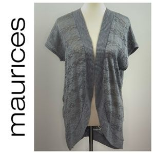 Maurice's Grey Cardigan Metallic Threading XL